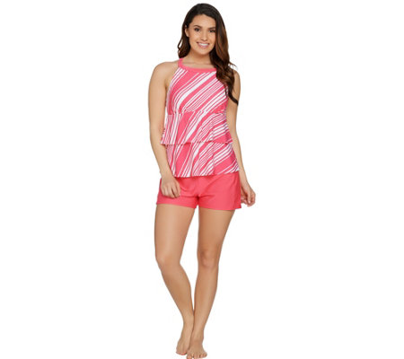 Isaac Mizrahi Live! High-Neck Tiered Tankini Swimsuit