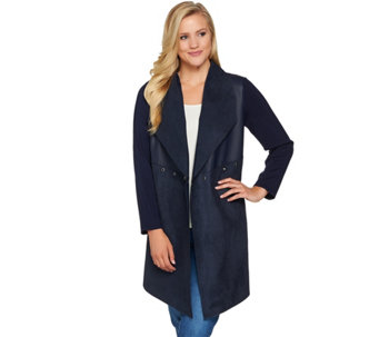 """As Is"" Studio by Denim & Co. Faux Suede and Sweater Cascade Front Cardigan - A289143"