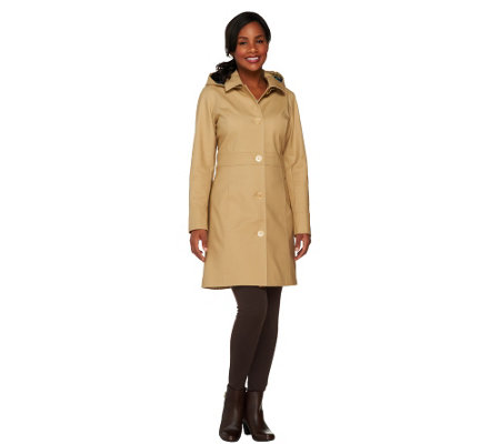 """As Is"" Isaac Mizrahi Live! Water Repellant Button Front Coat"