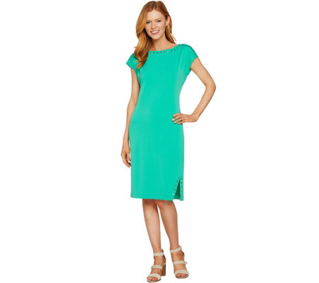 Susan Graver Liquid Knit Dress with Stud Trim