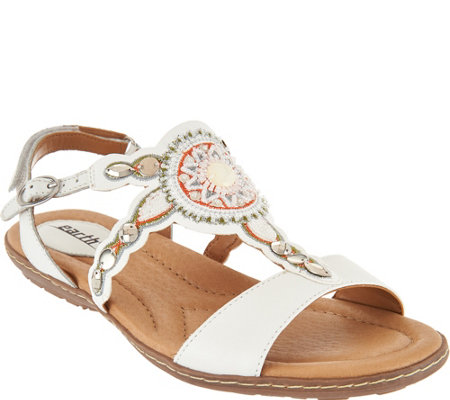Earth Leather Embellished Sandals - Sunbeam