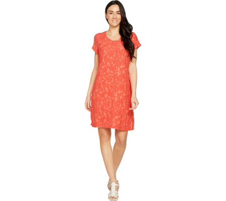 Isaac Mizrahi Live! Short Sleeve Floral Burnout T-Shirt Dress
