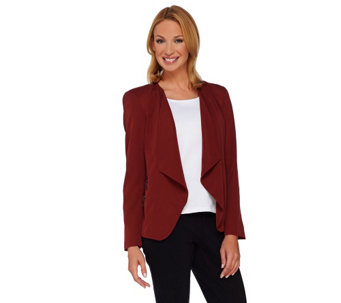 """As Is"" GK George Kotsiopoulos Drape Front Blazer w/Zipper - A291443"