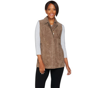 """As Is"" Dennis Basso Washable Suede Zip Front Vest - A291543"