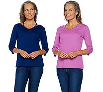 Quacker Factory Set of 2 Chic Sparkle Cut-Out V-Neck Knit T-shirts - A291843