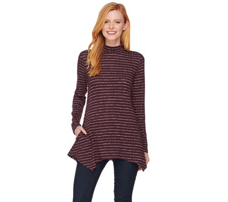 """As Is"" LOGO by Lori Goldstein Mock Neck Striped Rib Knit Top"