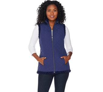 """As Is"" Denim & Co. Reversible Zip Front Faux Fur & Quilted Vest - A293943"