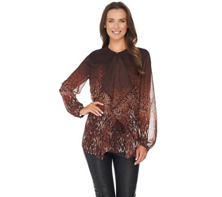 """As Is"" Dennis Basso Ruffle Front Animal Lace Print Blouse"