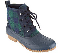 Isaac Mizrahi Live! Plaid Waterproof Mid-Shaft Lace-Up Boots - A298743