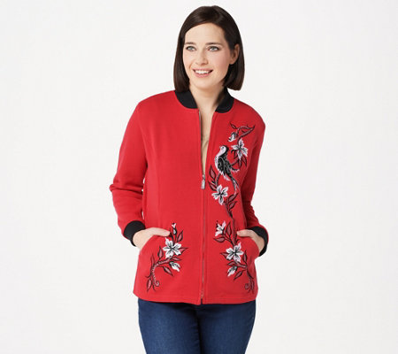 Bob Mackie's Embroidered Songbird Zip Up Jacket
