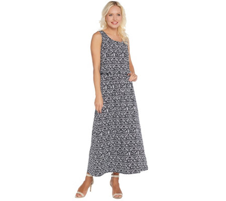 Joan Rivers Petite Length Printed Knit Maxi Dress with Pockets