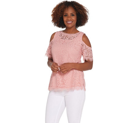 Isaac Mizrahi Live! Floral Lace Cold Shoulder Top