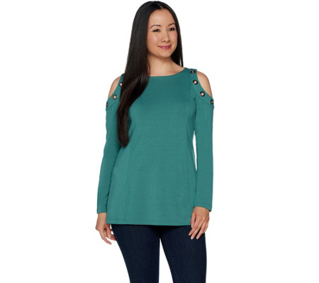 """As Is"" Belle by Kim Gravel Cold Shoulder Top with Grommets"