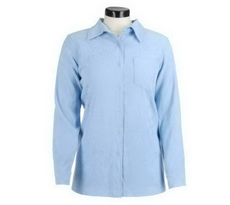 Denim & Co. Embroidered Stretch Moleskin Big Shirt