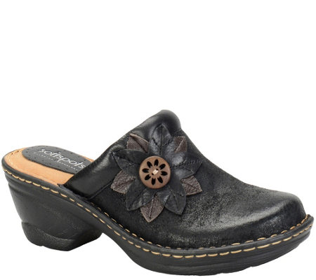 Softspots Leather Clogs with Flower Detail - Lara