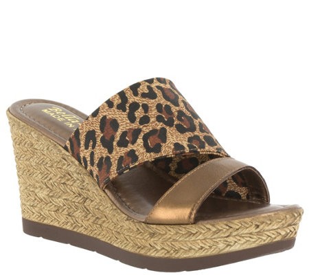 Bella Vita Leather & Fabric Slide Wedges - Formia