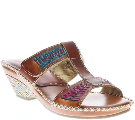 L'Artiste By Spring Step Leather Slide Sandals- Ganzo