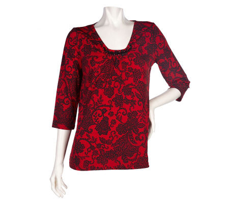 Susan Graver Liquid Knit Printed Top w/ Front Pleats & Beading Detail
