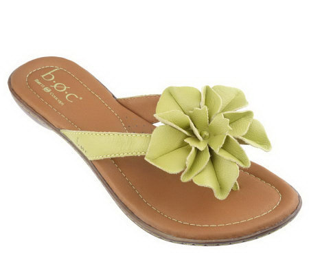 B.O.C. by Born Vivian Leather Slip-on Thong Sandals w/Flower Detail