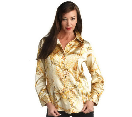 George Simonton Printed Stretch Charmeuse Blouse with Princess Seams