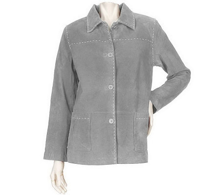 """As Is"" Denim & Co. Washable Suede Barn Jacket w/ Pickstitch"