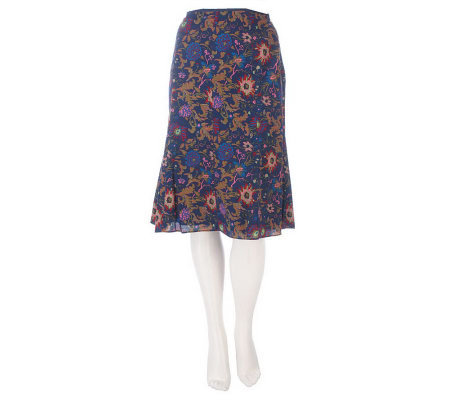 Liz Claiborne New York Floral Printed Gored Skirt
