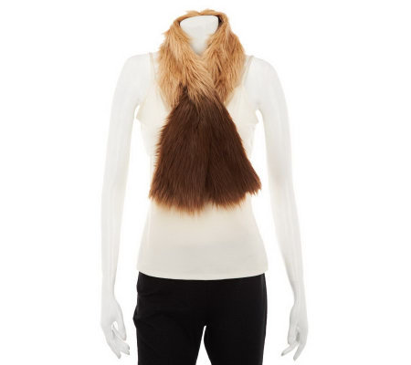 Dennis Basso Ombre Faux Fox Fur Pull Through Scarf