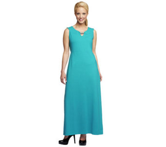 Denim & Co. Sleeveless Knit Maxi Dress with Hardware Detail - A233444