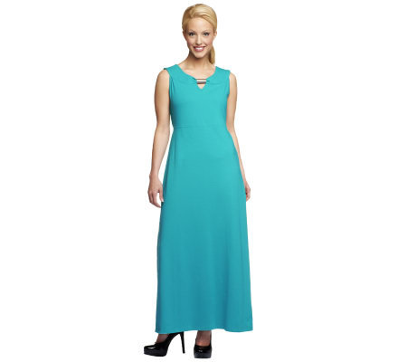Denim & Co. Sleeveless Knit Maxi Dress with Hardware Detail
