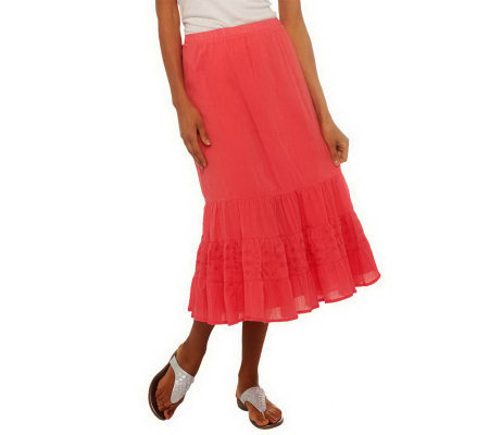 """As Is"" Denim & Co. Gauze Tiered Skirt with Eyelet Trim"