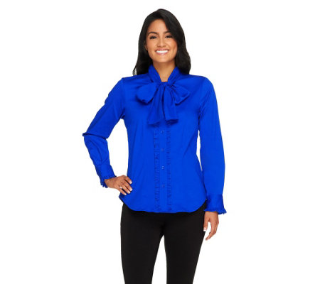 Linea by Louis Dell'Olio Bow Blouse with Ruffle Detail