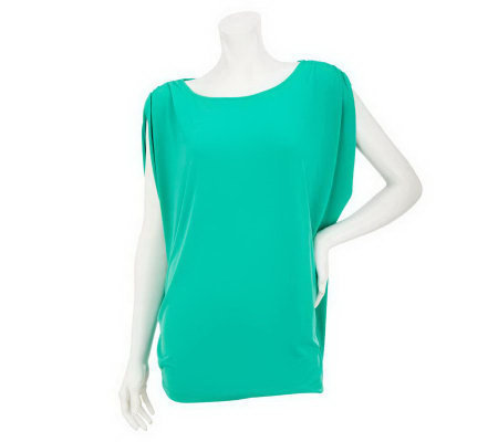 """As Is"" Susan Graver Solid Liquid Knit Draped Bateau Neck Top"