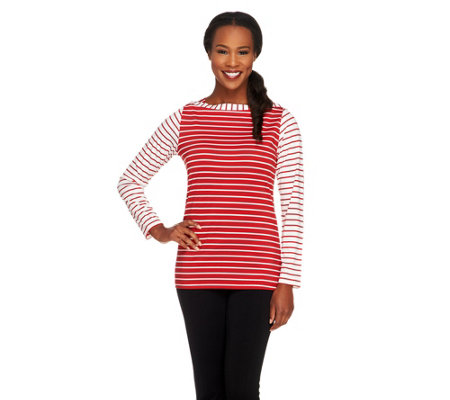Susan Graver Butterknit Bateau Neck Long Sleeve Striped Top