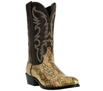 "Laredo Boots Men's Brown with Snake Print 12"" Cowboy Boots - A245444"