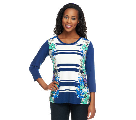 Susan Graver Liquid Knit Scoop Neck 3/4 Sleeve Printed Top