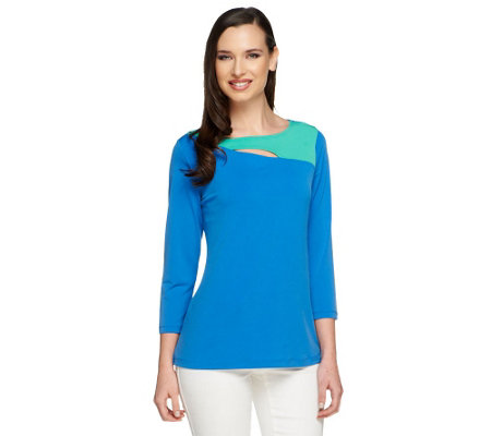 Susan Graver Liquid Knit Bateau Neck Top with Cut-out Detail
