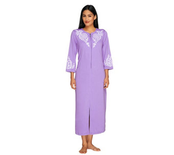 Bob Mackie's Daisy Embroidered Zipper Front Knit Robe - A254144