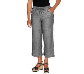 Liz Claiborne New York Regular Cropped Linen Pants - A254844
