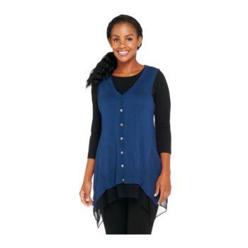LOGO by Lori Goldstein Cotton Cashmere Sweater Vest w/ Chiffon Trim