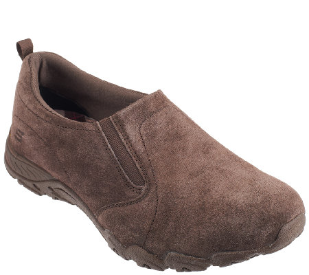 Skechers Suede Double Gore Relaxed Fit Slip-on Shoes - Atmosphere