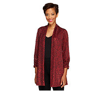 Susan Graver Foil Printed Knit Cardigan with Ruched 3/4 Sleeves - A257944