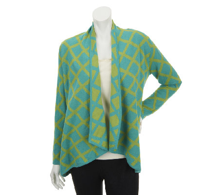 """As Is"" Susan Graver Jacquard Knit Long Sleeve Drape Cardigan"