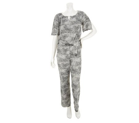 """As Is"" Susan Graver Liquid Knit Elbow Sleeve Jumpsuit"
