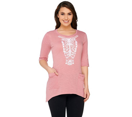 LOGO by Lori Goldstein Cotton Slub Top with Beaded Front Detail