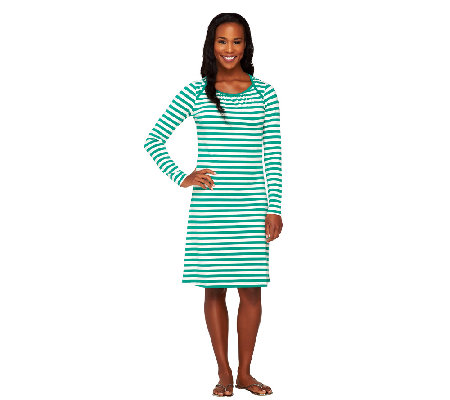 Liz Claiborne New York Bateau Neck Striped Dress