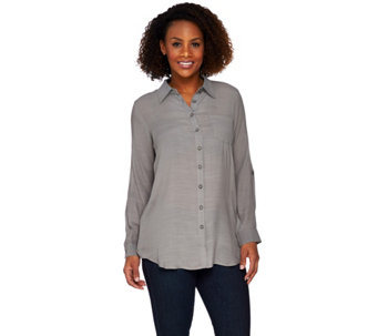 Joan Rivers Woven Gauze Boyfriend Shirt - A261844