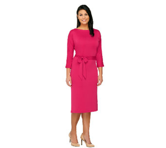 Susan Graver Premier Knit Dolman Sleeve Bateau Neck Dress - A261944