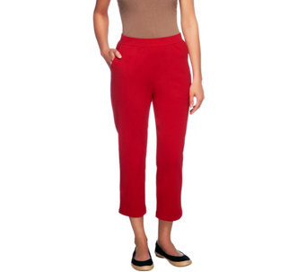 """As Is"" Denim & Co. Active Petite French Terry Crop Pant - A262144"