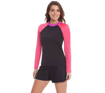 Ocean Dream Signature Color-Block Long Sleeve Rash Guard - A263744