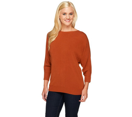 """As Is"" Susan Graver Plush Knit Bateau Neck Dolman Sleeve Sweater"